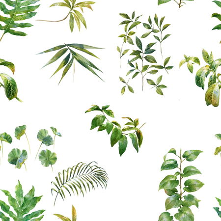 Watercolor illustration of leaf, seamless pattern
