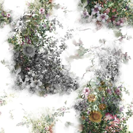 xwhite: Watercolor painting of leaf and flowers, seamless pattern on white background Stock Photo