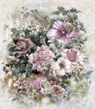 pink vintage: Bouquet of multicolored flowers watercolor painting style.digital painting