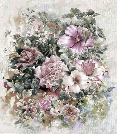 Ramo de flores multicolores pintura a la acuarela pintura style.digital Foto de archivo