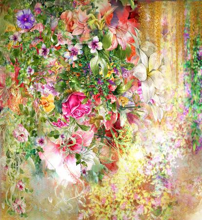 Flores abstractas de la acuarela. flores de primavera multicolor Foto de archivo
