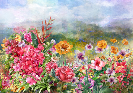 pictorial art: landscape of multicolored flowers watercolor painting style