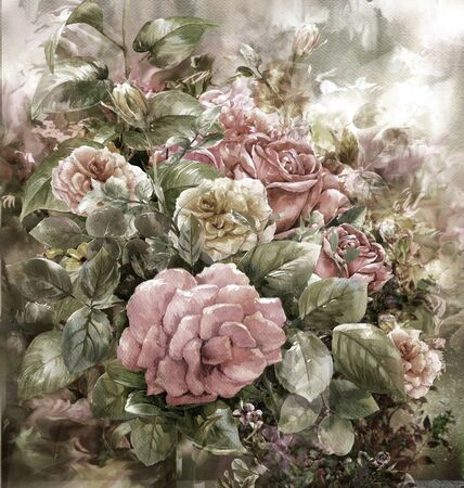 rose bouquet: Bouquet of rose watercolor painting style.digital painting