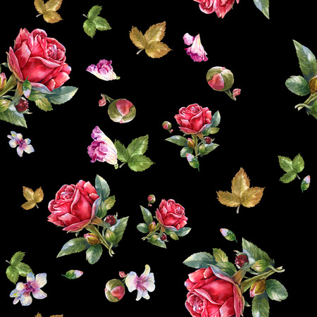 Watercolor painting illustration of Red rose , seamless pattern on black , background