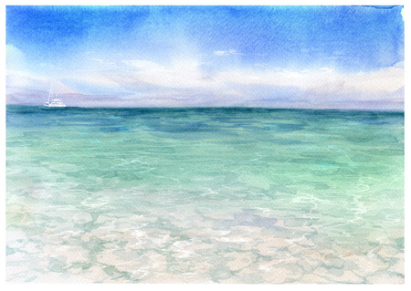 seascape watercolor painting Stock Photo