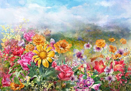pictorial art: landscape of multicolored flowers watercolor painting style.digital painting