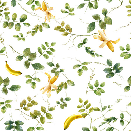 banana leaf: Watercolor illustration of leaf and banana, seamless pattern on white background