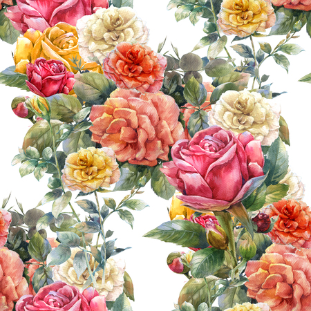 Watercolor painting of flowers, rose , seamless pattern on white background