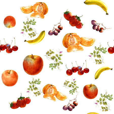 watercolor painting many fruits seamless pattern , on white background