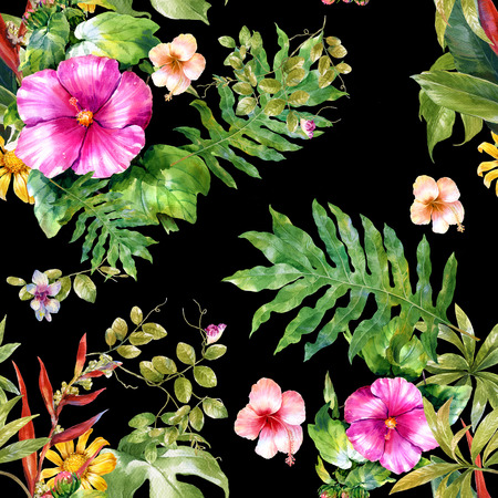 Watercolor painting of leaf and flowers, seamless pattern on dark background, Stok Fotoğraf