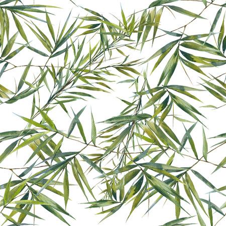 Aquarel illustratie van bamboe bladeren, naadloze patroon op een witte achtergrond Stockfoto
