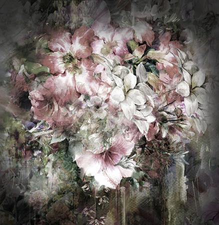 フルカラー背景に色とりどりの花の水彩画の花束 写真素材 - 64810663