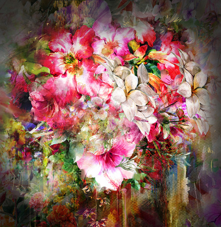 Bouquet of multicolored flowers watercolor painting on full color background