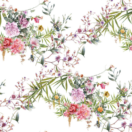 vintage background pattern: Watercolor painting of leaf and flowers, seamless pattern on white background Stock Photo