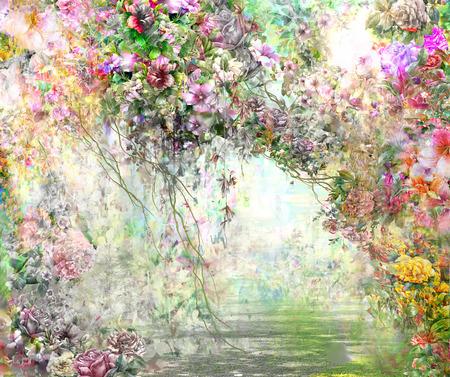 flores de colores de la acuarela de flores abstractas. flores de primavera multicolor