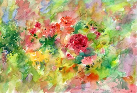 Resumen de flores de colores de la acuarela. primavera multicolor