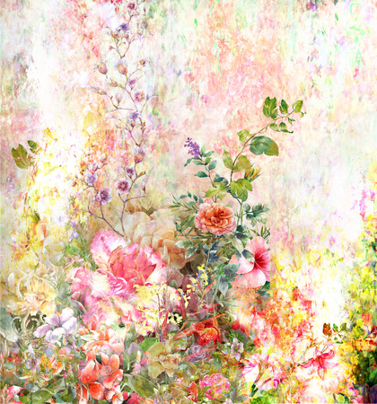 Abstract colorful flowers watercolor painting. Spring multicolored Stock Photo