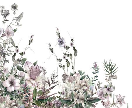 acuarela de hojas y flores, sobre fondo blanco