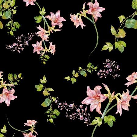 Watercolor painting of leaf and flowers, seamless pattern on dark background Standard-Bild - 81699321