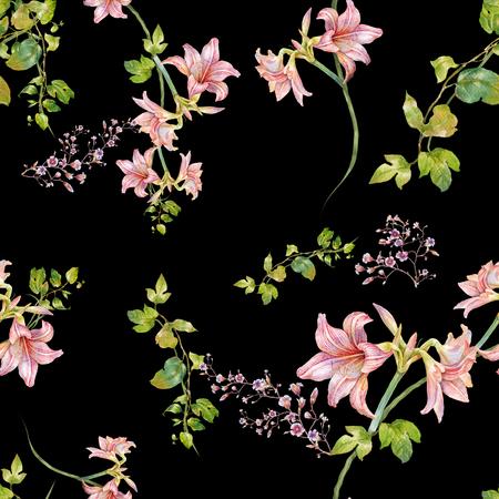 Waterverf het schilderen van blad en bloemen, naadloos patroon op donkere achtergrond Stockfoto