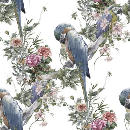 水彩画の鳥、花、白い背景の上のシームレスなパターン 写真素材