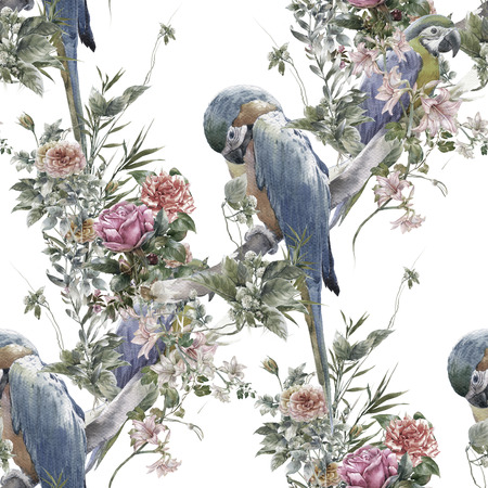 popular: Watercolor painting with birds and flowers, seamless pattern on white background