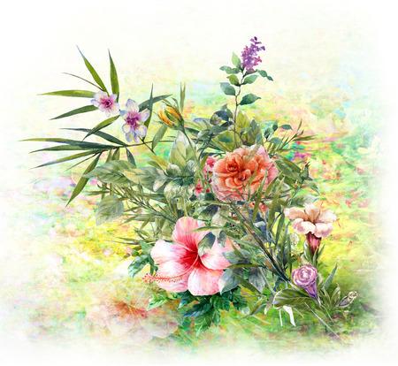 Waterverf het schilderen van bladeren en bloem, op witte achtergrond Stockfoto - 81116749