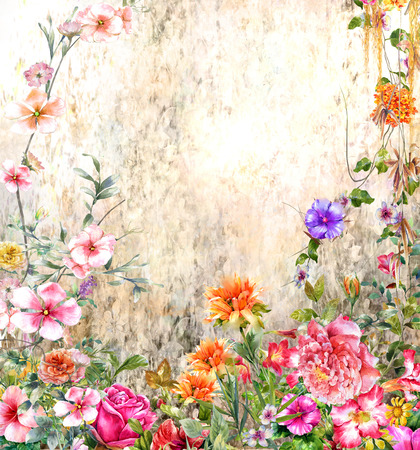 Abstract colorful flowers watercolor painting. Spring multicolored in nature Stock Photo