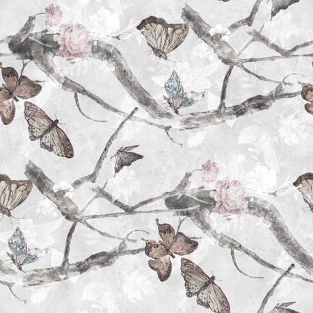 butterfly isolated: Watercolor painting of Butterfly and flowers, seamless pattern on gray background