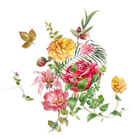 aquarel schilderij van bladeren en bloemen, op een witte achtergrond