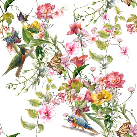 Watercolor painting of leaf and flowers, seamless pattern on white background 版權商用圖片