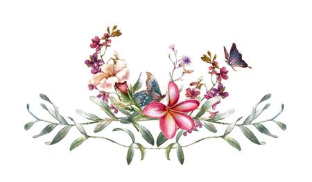 Pittura ad acquerello di foglie e fiori, su sfondo bianco Archivio Fotografico - 92020480