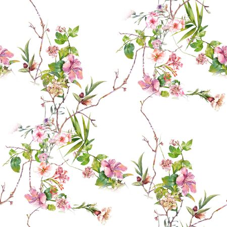 Watercolor painting of leaf and flowers, seamless pattern on white background 스톡 콘텐츠