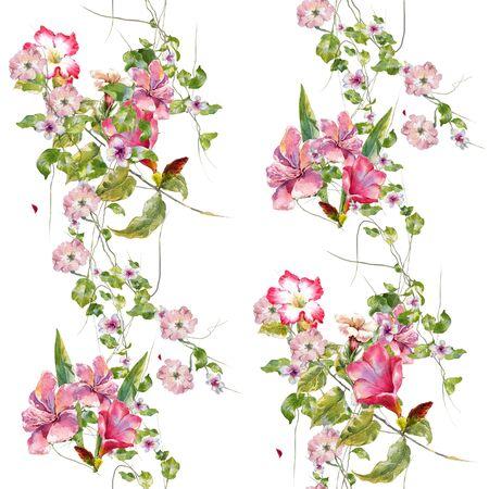 Acuarela de hojas y flores, patrón transparente sobre fondo blanco.