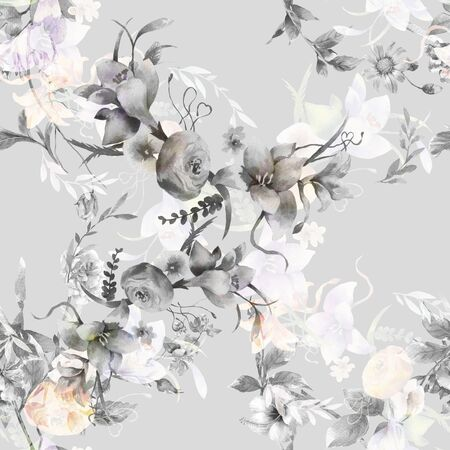 Watercolor painting of leaf and flowers, seamless pattern on gray background