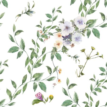 Watercolor painting of leaf and flowers, seamless pattern on white background Stock fotó