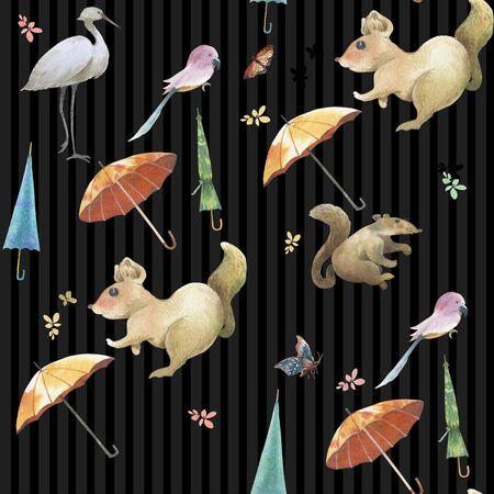 Watercolor painting of Cute animal,flower seamless pattern