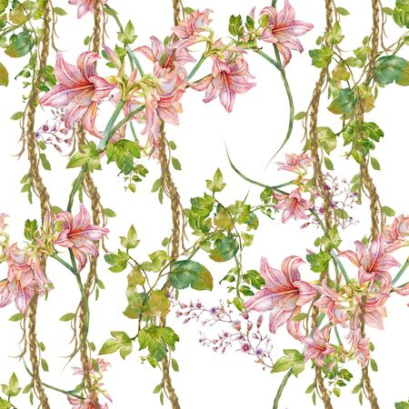 Watercolor painting of leaf and flowers, seamless pattern on white background Stock Photo