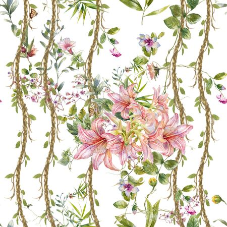 Watercolor painting of leaf and flowers, seamless pattern on white background Фото со стока