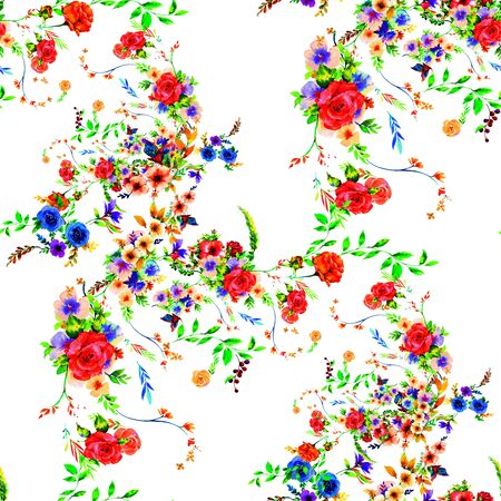 Watercolor painting of leaf and flowers, seamless pattern on white background Stok Fotoğraf