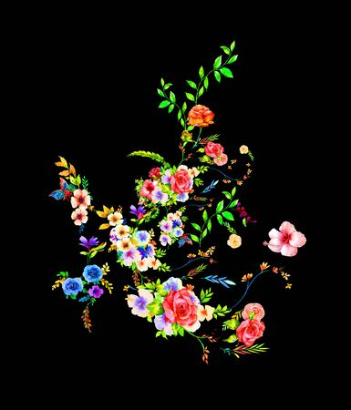 watercolor painting of leaves and flower, on dark background Stock fotó - 129523545