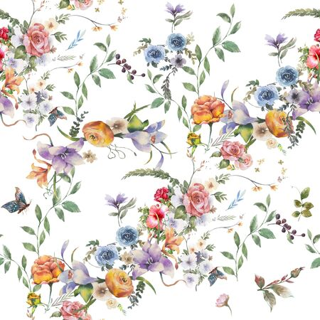 Watercolor painting of leaf and flowers, seamless pattern on white background Imagens