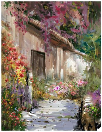 Abstract colorful flowers watercolor painting. Spring  with buildings and walls Stockfoto