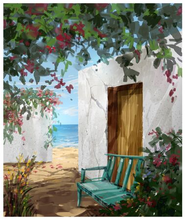 landscape painting in spring,illustration colorful flowers painting. with buildings and walls near the sea Stock Photo