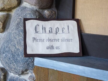 Chapel please observe silence with us sign Stock Photo