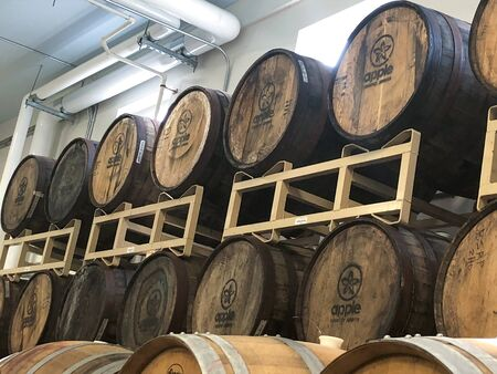 Apple Spirits Barrels in Marion New Work Stock Photo