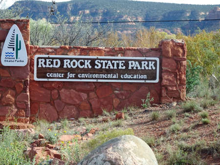Red Rock State Park sign at the entrance of the park