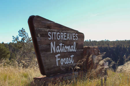 Wooden sign at the entrance of Sitgreaves National Forest Editorial