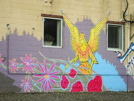Religious spraypaint art located in Asheville Editorial