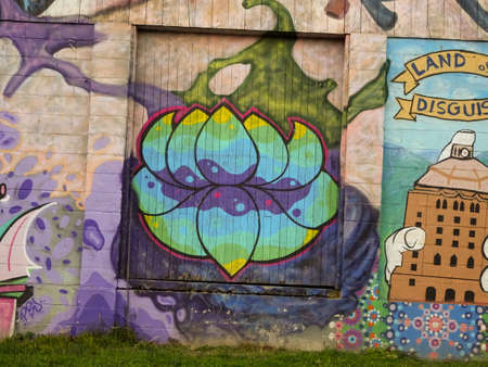 Colorful spraypaint art in Asheville, NC
